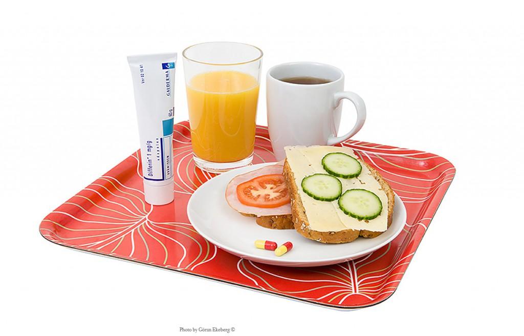 Frukostbricka med preparat